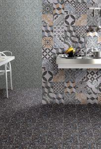 Foto 5. Een keramische granito/terrazzo tegel 20x20. Makkelijk in onderhoud en in veel verschillende kleuren te krijgen