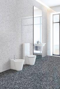 Foto 3. Een keramische granito/terrazzo in klein (20x20) en groot (60x60) formaat