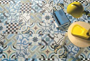 Foto 4. Een levendige en kleurrijke patchwork vloer