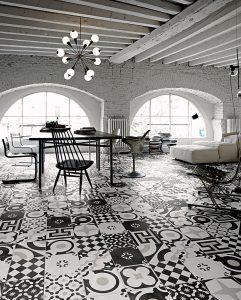Foto 5. Zwart wit patchwork vloer