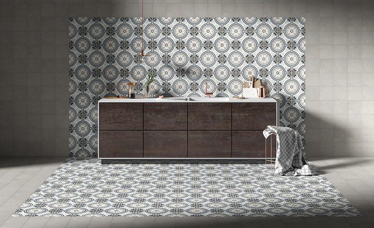 Foto 9. Keramische patroontegel, goed te combineren met een betonlook