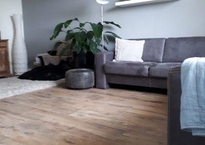 Landelijke woning met keramisch hout in de woonkamer en toilet