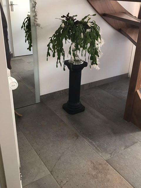 Hal en toilet met grote maten leisteenlook tegels