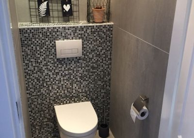 Toilet met 120×120 op de zijwanden en mozaïek op de achterwand