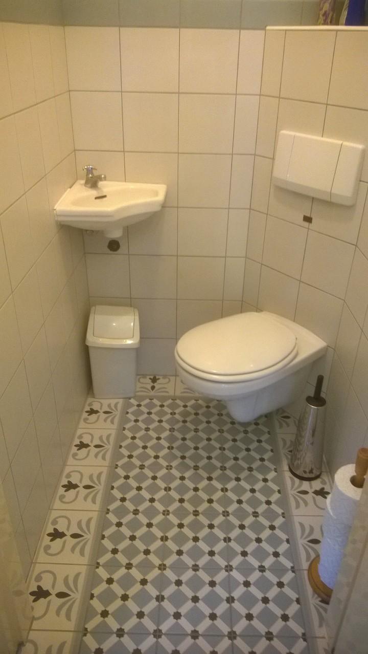 Hal en toilet met een patroontegel met rand